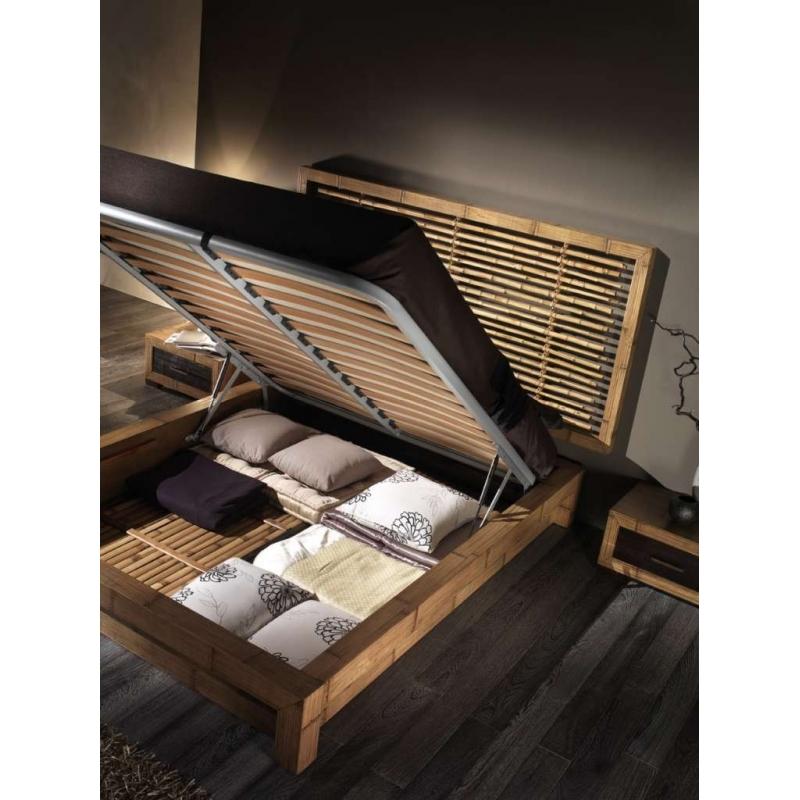 Rete alzante con pistoni con doghe in legno arredo giunco - Pistoni per letto contenitore ...