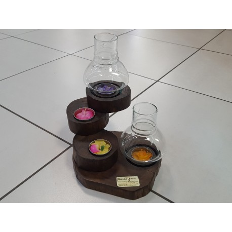 Porta Tea ligth girevole 4 candele 2 bocce