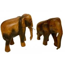 Coppia Elefanti in legno