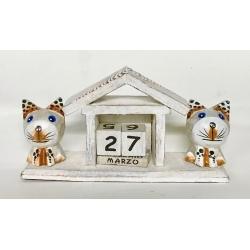 Calendario con 2 gattini in legno